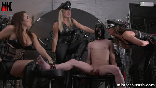 Femdom and Strapon Mistress Krush Punished For Escaping From His Cage