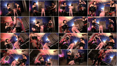 Femdom and Strapon Caning the CryBaby