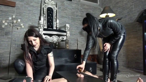 Femdom and Strapon Mistress Gaia Milking His Cock Raw
