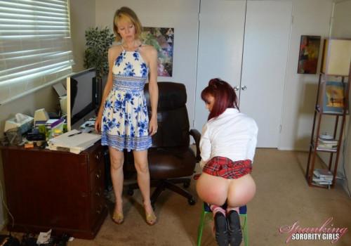 Clare Fonda Spanks Kira In Office