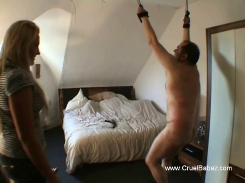 Femdom and Strapon Hangman Whipping
