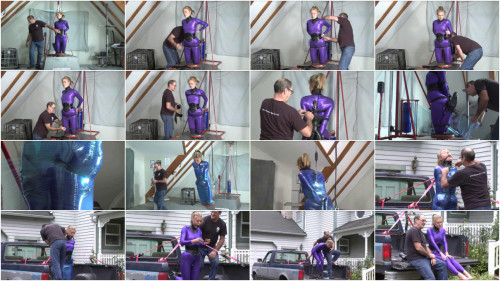 BDSM Latex Tight bondage, mummification and torture for hot model