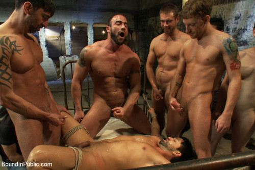 Gay BDSM Dominic Pacifico gang fucked and pissed on by strange men