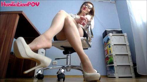 Femdom and Strapon Humiliation POV - Miss Honey Barefeet Worship My Heels Or Youre Fired