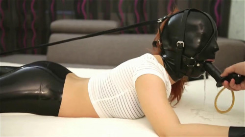 BDSM Latex Super bondage, domination and hogtie for sexy model in latex HD 1080p