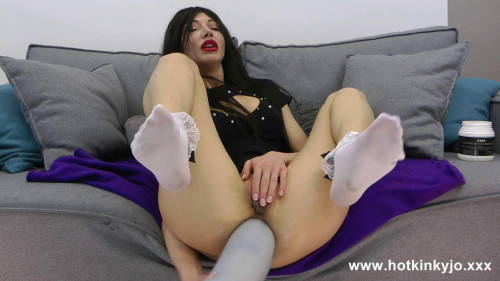Fisting and Dildo Huge grey dong in hotkinkyjo ruined anal hole