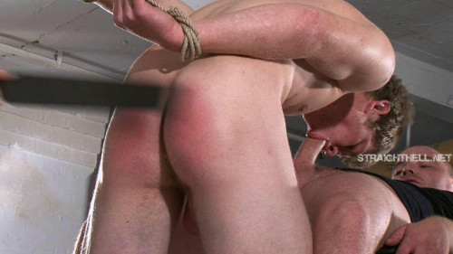 Gay BDSM Wrists bound and ankles shackled, ballgagged