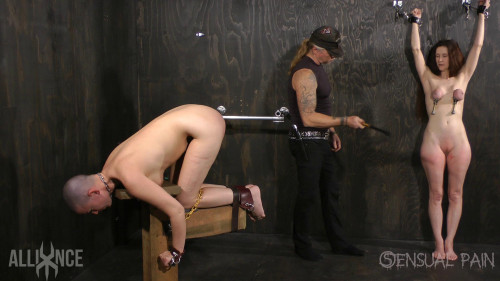 Tandem slave Beating BDSM