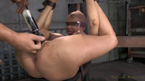 Huge beasted Rain DeGrey restrained in strict bondage, ASS fucked hard
