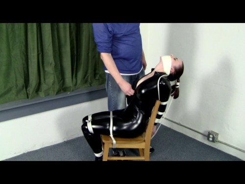 Catsuited Chair tie BDSM Latex