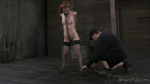HT - Uncut: No editing, one take. All the restraint bondage onscreen - Redhead Girl Calico
