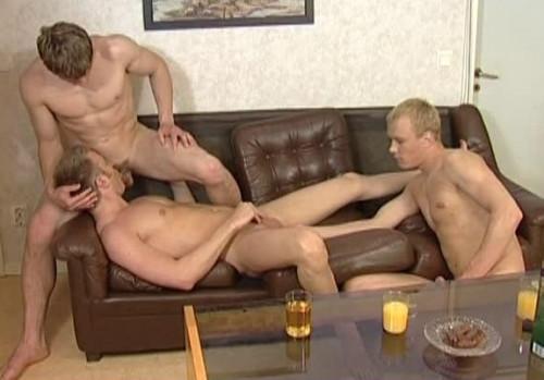 Young men in hard bareback action