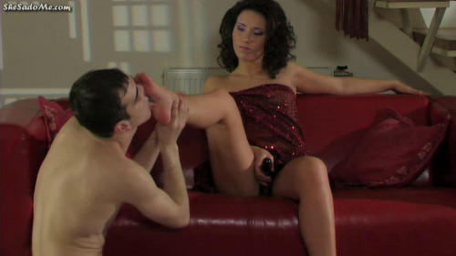 Busy and Colin Foot fisting for an eager slave Femdom and Strapon