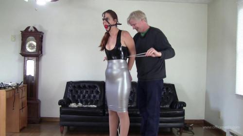 Latex lady bondage