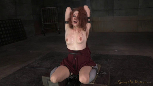 Bound dungeon pet Violet Monroe vibrated to multiple orgasms and brutally throatboarded!