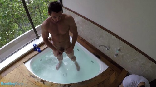 Bentley Race - Posing in his skimpy speedo – James Nowak in the hot tub
