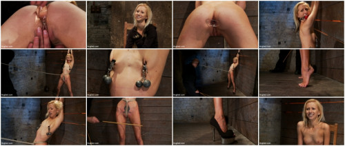 Tiny sexy blond suffers heavy weighted nipple clamps & a crotch burner that keeps her on her toes! BDSM