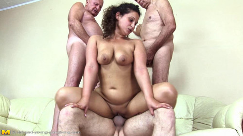 Big tit young slut get pounded by old guys