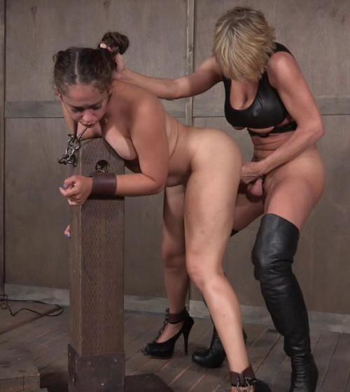 Slimy strap-on slut BDSM
