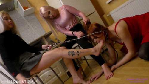 Kira and Nicole Cruel blondes and their beautiful slave girl