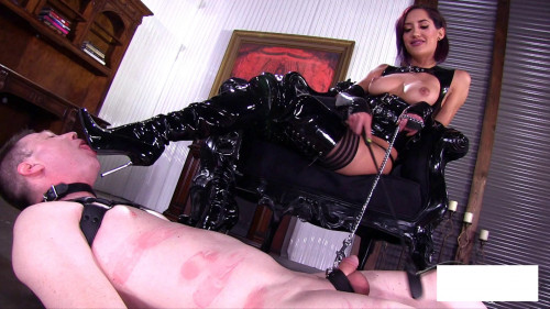 Glossy Boots Femdom and Strapon