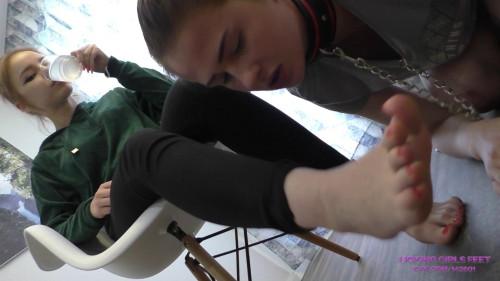 Slave gal underneath the table
