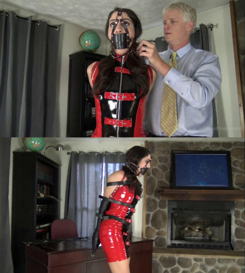 Bondage and domination for very beautiful young brunette in latex BDSM Latex