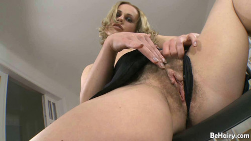Hairy blonde toys pooper