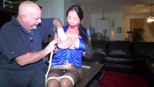 Hot Asian bondage toy breast bound, reverse prayer, hogtie BDSM