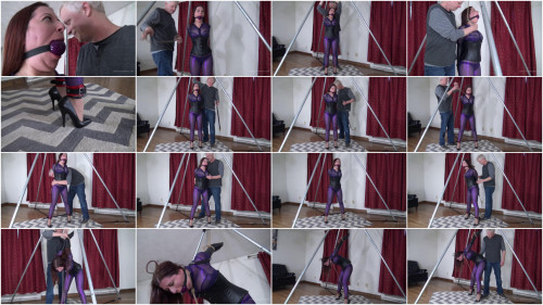 Gmoras - Tight Purple Catsuit with a Strappado BDSM