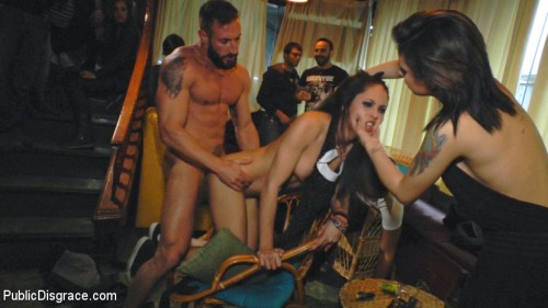 Perky Carolina Abril is Ravaged and Shamed in Crowded Bar BDSM
