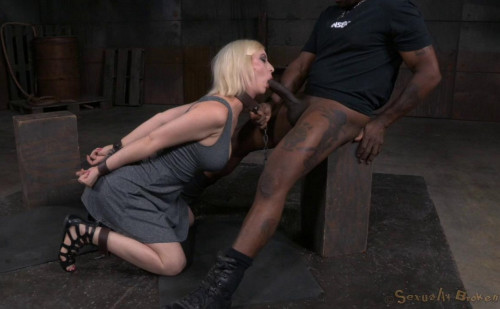 Pale blonde chained down and trained by BBC