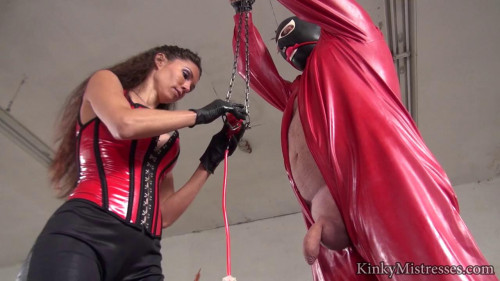 MistressSusi - Slave in Red Rubber Femdom and Strapon