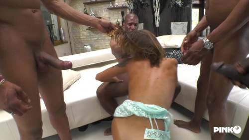 Malena and four cocks to suck Interracial