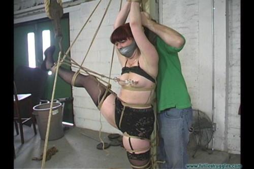 Cherry Poletied Crotchroped Gagged Nipple Clamped Spanked - Extreme, Bondage, Caning