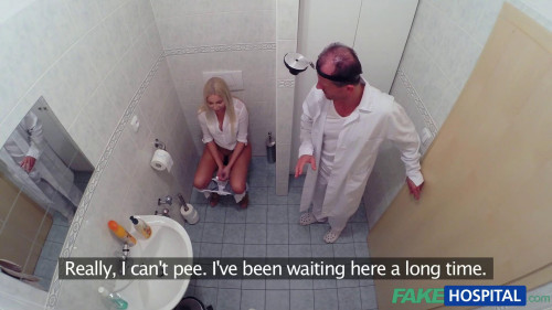 Horny busty blonde receives a creampie from the doctor Hidden camera