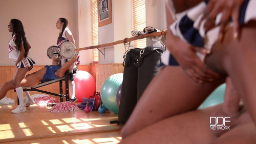 Cheerleader Boot Camp - Hot Babes Get Their Cunnies Filled Threesome