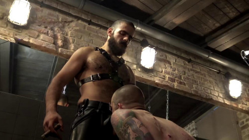 Leather Big Wolf vs Axl Black Gay 3D stereo