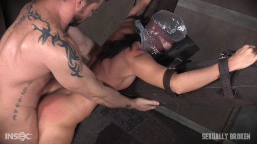 Hot Milf India Summer's is strapped to 'X' frame, hooded, gagged, and brutally fucked! (2016)