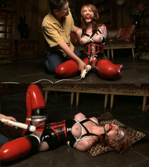 Tight bondage, domination and torture for hot girl in latex BDSM Latex