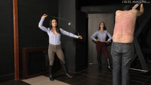 Amanda Mira and Ariel Three Girls and A.Swishing Whip Femdom and Strapon