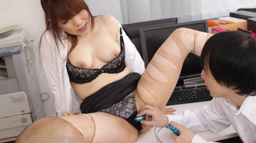 Sexy office lady fucked by her boss in a trio