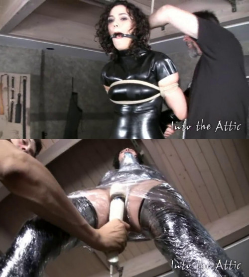 Tight bondage, torture and hogtie for sexy brunette part 1