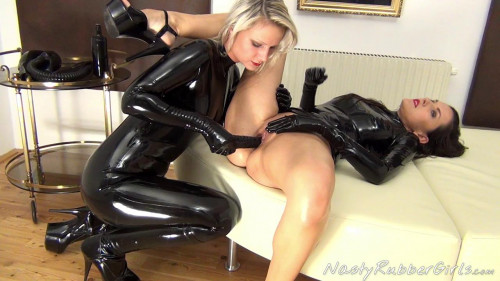 Rubber Girls, Finger, Dildo, Breath Control Hood Part One