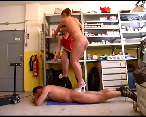 Painful trampling Femdom and Strapon