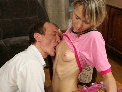 Cute skinny blonde rides her horny teacher like a stoat. Old and Young