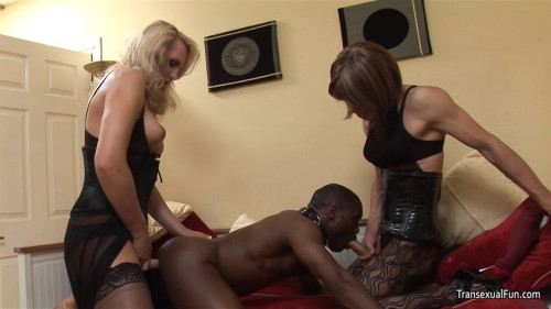 Shemale Mistress with another shemale & black sub guy