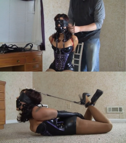 Tight bondage and hogtie for hot girl with big tits