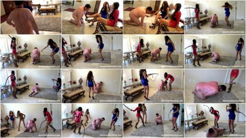 Princess Beverly, Princess Carmela & Princess Bella / Whip Slave Nasty Femdom and Strapon