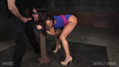 Kalina Ryu shackled down blindfolded and fucked without mercy